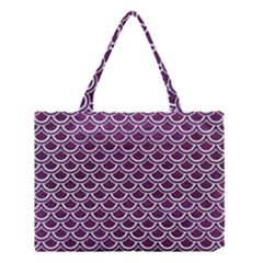 Scales2 White Marble & Purple Leather Medium Tote Bag by trendistuff
