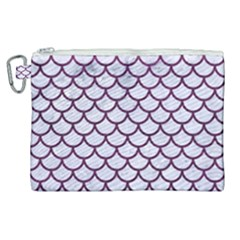 Scales1 White Marble & Purple Leather (r) Canvas Cosmetic Bag (xl)
