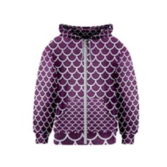 Scales1 White Marble & Purple Leather Kids  Zipper Hoodie