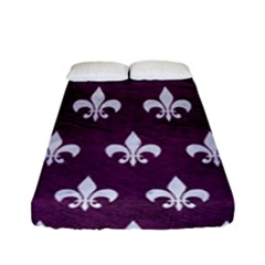 Royal1 White Marble & Purple Leather (r) Fitted Sheet (full/ Double Size) by trendistuff