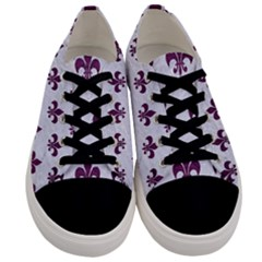 Royal1 White Marble & Purple Leather Men s Low Top Canvas Sneakers