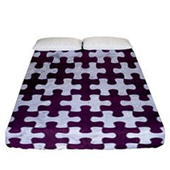 Puzzle1 White Marble & Purple Leather Fitted Sheet (california King Size) by trendistuff