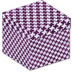 Houndstooth2 White Marble & Purple Leather Storage Stool 12   by trendistuff