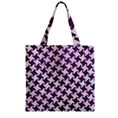 Houndstooth2 White Marble & Purple Leather Zipper Grocery Tote Bag by trendistuff