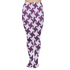 Houndstooth2 White Marble & Purple Leather Women s Tights by trendistuff