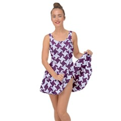 Houndstooth2 White Marble & Purple Leather Inside Out Dress