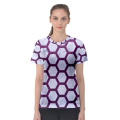 Hexagon2 White Marble & Purple Leather (r) Women s Sport Mesh Tee by trendistuff