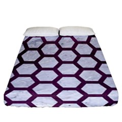 Hexagon2 White Marble & Purple Leather (r) Fitted Sheet (california King Size) by trendistuff