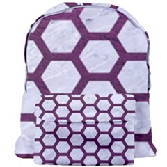 Hexagon2 White Marble & Purple Leather (r) Giant Full Print Backpack by trendistuff