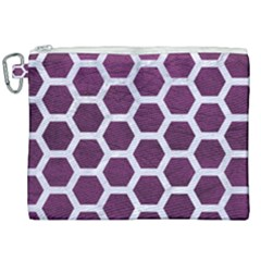 Hexagon2 White Marble & Purple Leather Canvas Cosmetic Bag (xxl) by trendistuff