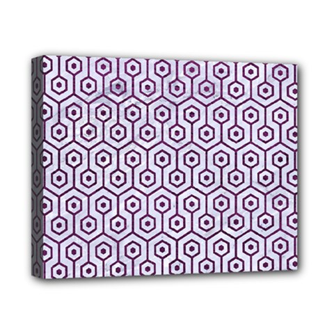 Hexagon1 White Marble & Purple Leather (r) Canvas 10  X 8  by trendistuff
