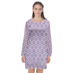 Hexagon1 White Marble & Purple Leather (r) Long Sleeve Chiffon Shift Dress
