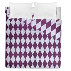 Diamond1 White Marble & Purple Leather Duvet Cover Double Side (queen Size) by trendistuff