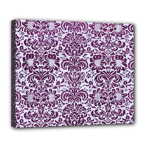 Damask2 White Marble & Purple Leather (r) Deluxe Canvas 24  X 20   by trendistuff