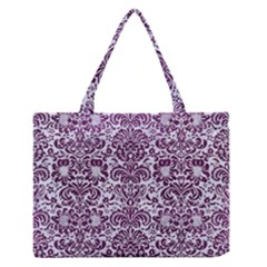 Damask2 White Marble & Purple Leather (r) Zipper Medium Tote Bag by trendistuff