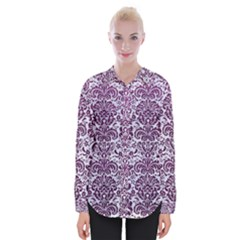 Damask2 White Marble & Purple Leather (r) Womens Long Sleeve Shirt