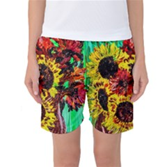 Sunflowers In Elizabeth House Women s Basketball Shorts by bestdesignintheworld