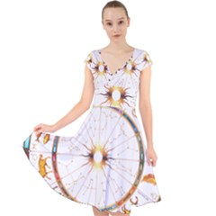 Zodiac  Institute Of Vedic Astrology Cap Sleeve Front Wrap Midi Dress