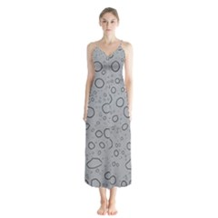 Water Glass Pattern Drops Wet Button Up Chiffon Maxi Dress