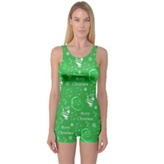 Santa Christmas Collage Green Background One Piece Boyleg Swimsuit