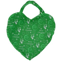 Santa Christmas Collage Green Background Giant Heart Shaped Tote by Sapixe