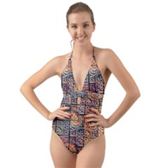 Wooden Blocks Detail Halter Cut Out One Piece Swimsuit