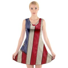 Usa Flag V Neck Sleeveless Skater Dress by Sapixe