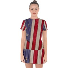 Usa Flag Drop Hem Mini Chiffon Dress by Sapixe