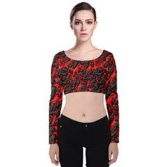 Volcanic Textures Velvet Crop Top by Sapixe