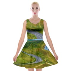Cliff Coast Road Landscape Travel Velvet Skater Dresses by Sapixe