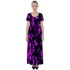 Abstract Background Purple Bright High Waist Short Sleeve Maxi Dress