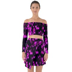Abstract Background Purple Bright Off Shoulder Top With Skirt Set