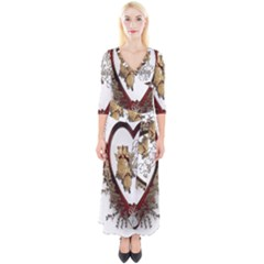 Christmas Décor Decoration Winter Quarter Sleeve Wrap Maxi Dress