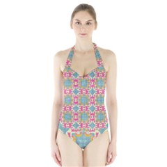 Christmas Holidays Seamless Pattern Halter Swimsuit by Sapixe