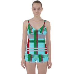 Christmas Plaid Backgrounds Plaid Tie Front Two Piece Tankini