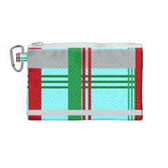 Christmas Plaid Backgrounds Plaid Canvas Cosmetic Bag (medium) by Sapixe