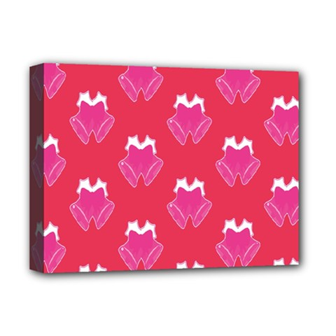Christmas Red Pattern Reasons Deluxe Canvas 16  X 12   by Sapixe