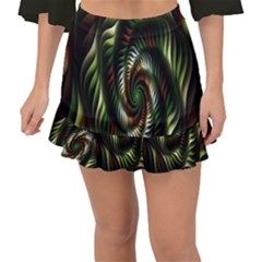 Fractal Christmas Colors Christmas Fishtail Mini Chiffon Skirt