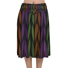 Background Weave Plait Purple Velvet Flared Midi Skirt