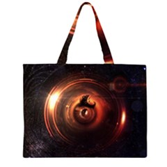 Steampunk Airship Sailing The Stars Of Deep Space Zipper Large Tote Bag by jayaprime