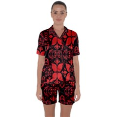 Christmas Red And Black Background Satin Short Sleeve Pyjamas Set