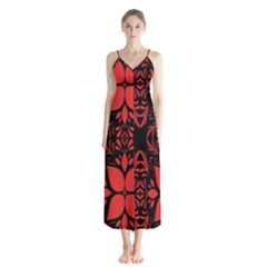 Christmas Red And Black Background Button Up Chiffon Maxi Dress