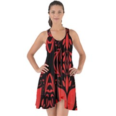 Christmas Red And Black Background Show Some Back Chiffon Dress