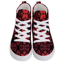Christmas Red And Black Background Kid s Hi Top Skate Sneakers
