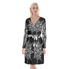 Ice Crystal Ice Form Frost Fabric Long Sleeve Velvet Front Wrap Dress