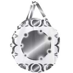 Metal Circle Background Ring Giant Round Zipper Tote