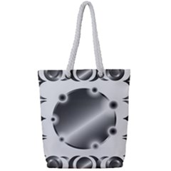 Metal Circle Background Ring Full Print Rope Handle Tote (small)