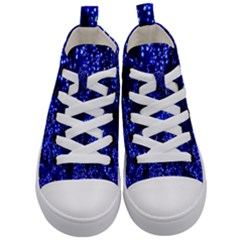 Lights Blue Tree Night Glow Kid s Mid Top Canvas Sneakers