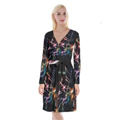 Lights Star Sky Graphic Night Long Sleeve Velvet Front Wrap Dress