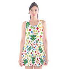 Pattern Circle Multi Color Scoop Neck Skater Dress by Sapixe